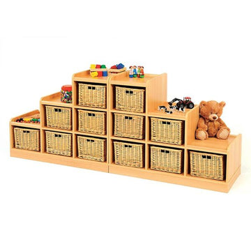 Tiered Storage Units With Wicker Baskets Offer