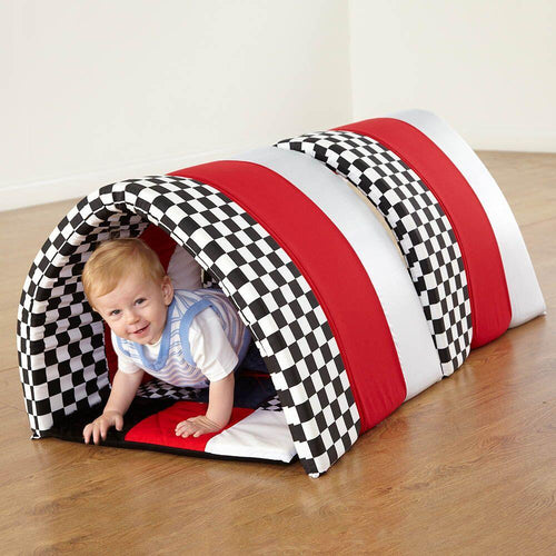 Black and White Striped Soft Baby Tunnel