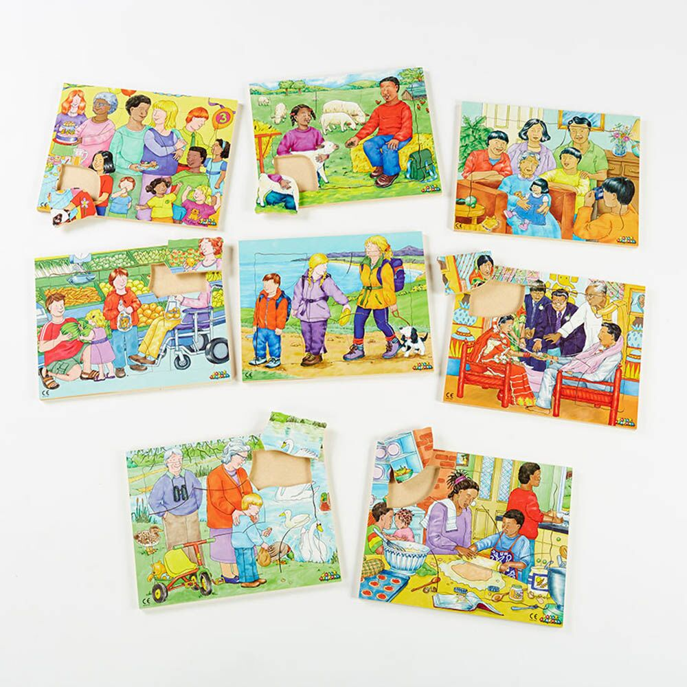 Illustrated Kinds of Family Jigsaw Puzzles 8pk