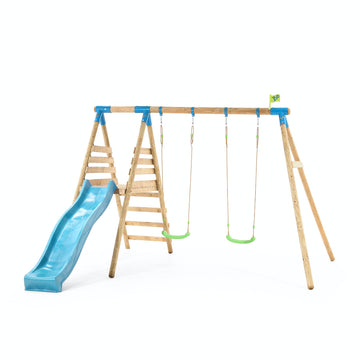 Wooden Double Swing Set and Slide