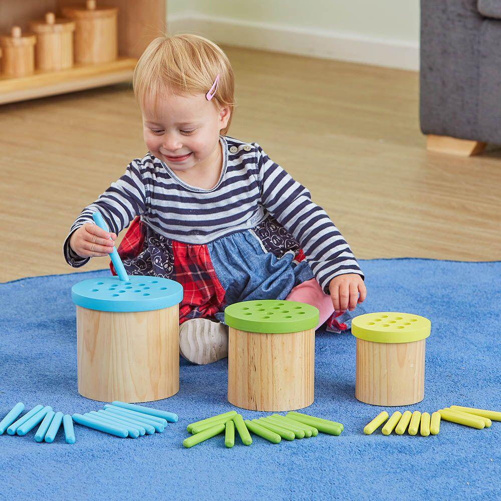 Colour Matching Posting Pots Wooden Straws
