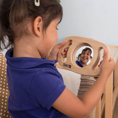 Easy Grip Wooden Handle Two Sided Mirror