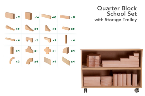 Quarter Block School Set with Storage Trolley