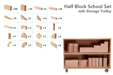 Half Block School Set with Storage Trolley