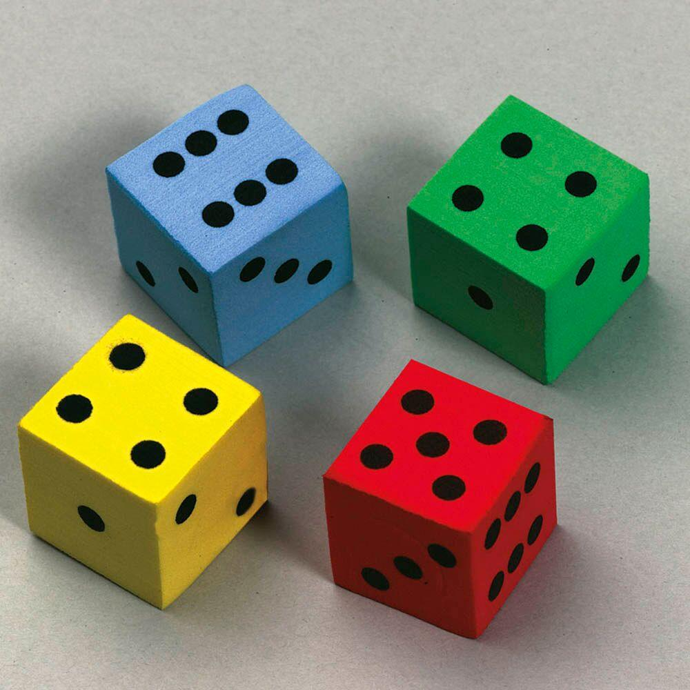 Multi Coloured Foam Silent Dice Class Set