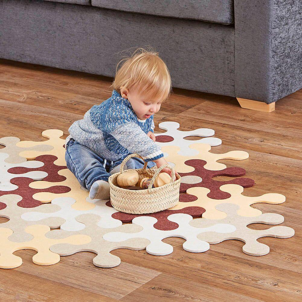 Natural Jigsaw Rug Rounded