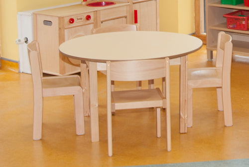 53cm Magnolia  Round  Table & 4 31cm Beech Chairs