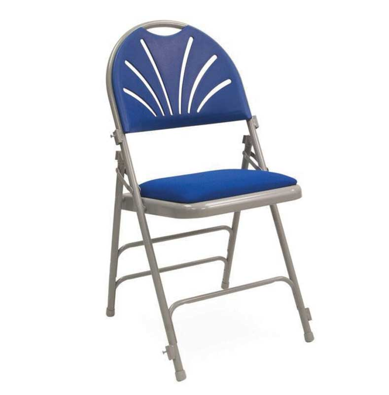 Fan Back Folding Chair Blue