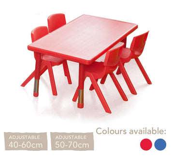 Adjustable Polyethylene Rectangular Table and Chairs - All Heights and Colours
