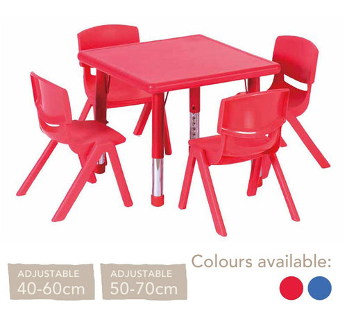 Adjustable Polyethylene Square Table and Chairs - All Heights and Colours