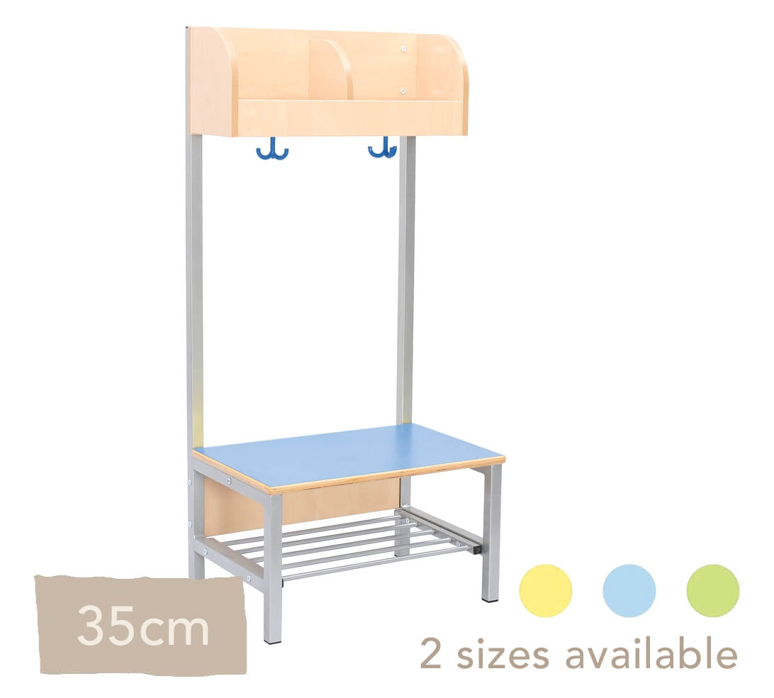 Flexi Cloakroom with Frame, 2 Hooks - Seat Height 35cm - All Colours