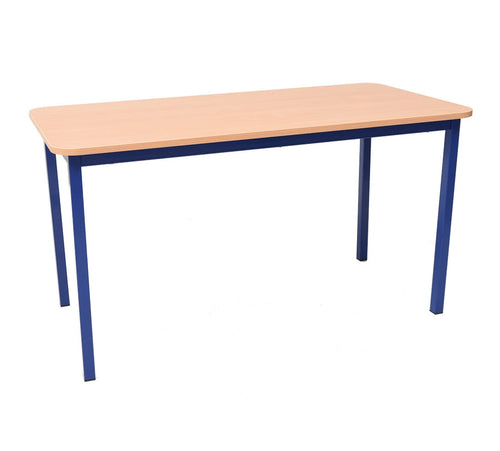 Steel Legged Rectangular Table - Blue 64cm