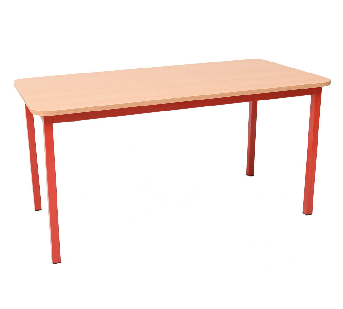 Steel Rectangular Table - Red 59cm