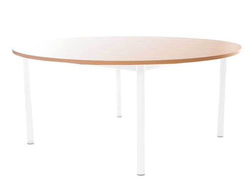 Steel Legged Round Table - White 46cm