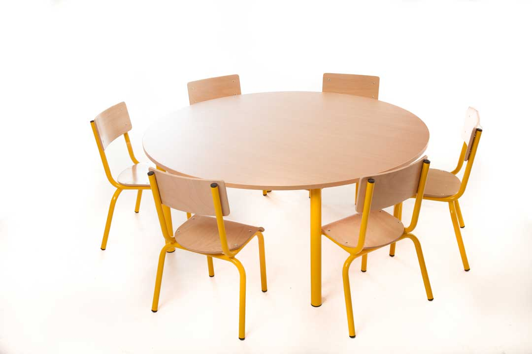 Steel 53cm Round Table and 6 31cm Chairs choose you colour