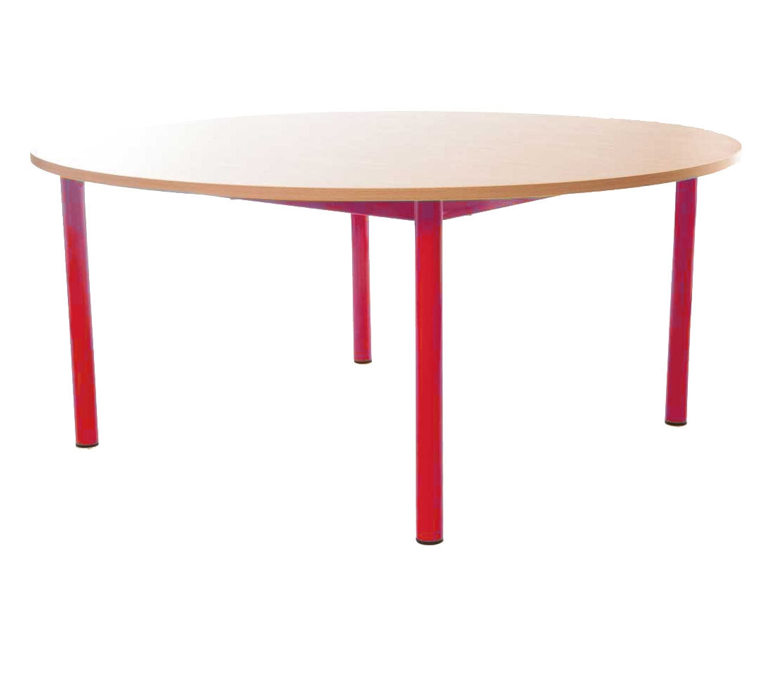 Steel Legged Round Table -Red 59cm