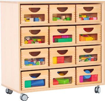 M Cabinet with 12 Wooden Boxes
