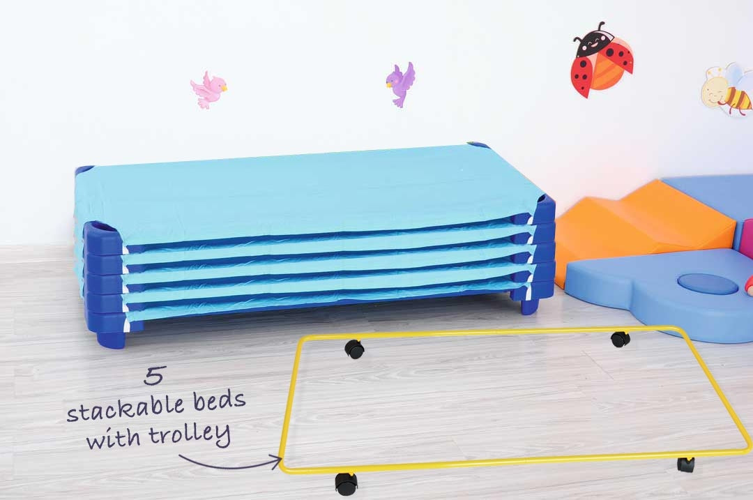 Special- Buy 5 stackable beds, sheets and a trolley at this great price