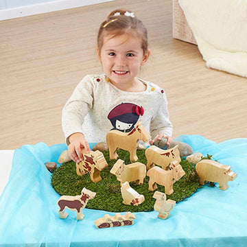 Wooden Farm Animals 10pk