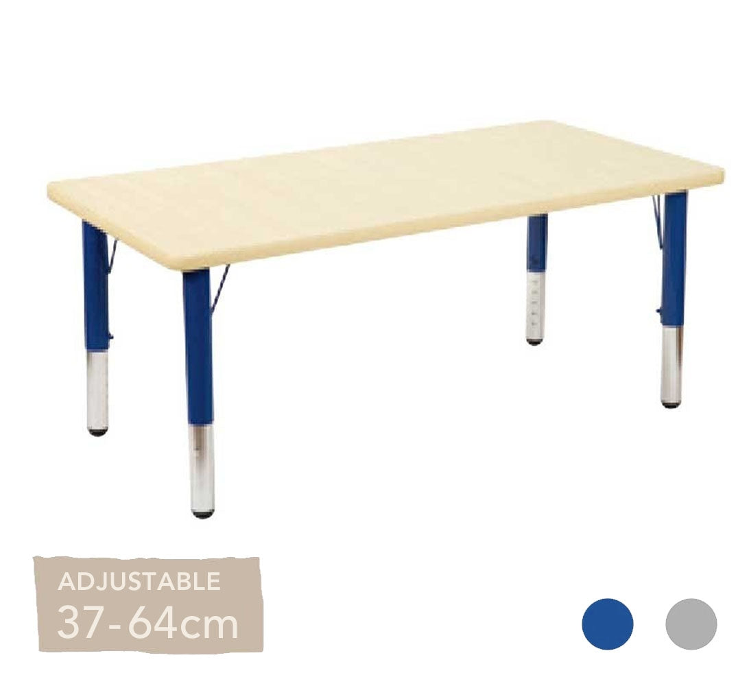 Adjustable Maple Rectangular Table Silver or Blue Legs