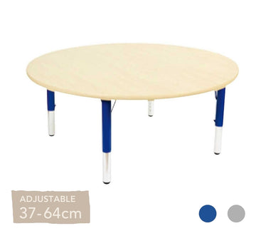 Adjustable Maple Round Table Silver or Blue Legs