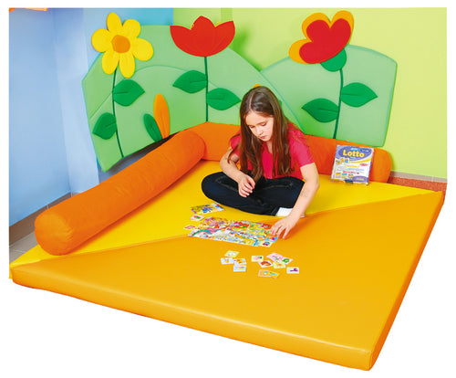 Special Corner Mattress & Orange log Cushions ( pk2)
