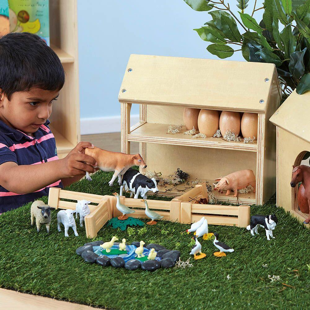Wooden Farm Buildings Small World Play Set
