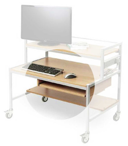 Sliding Keyboard Shelf for Two Tiered Computer Trolley