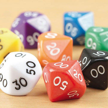 10 Sided Polyhedral Dice 0000-9000 50pk