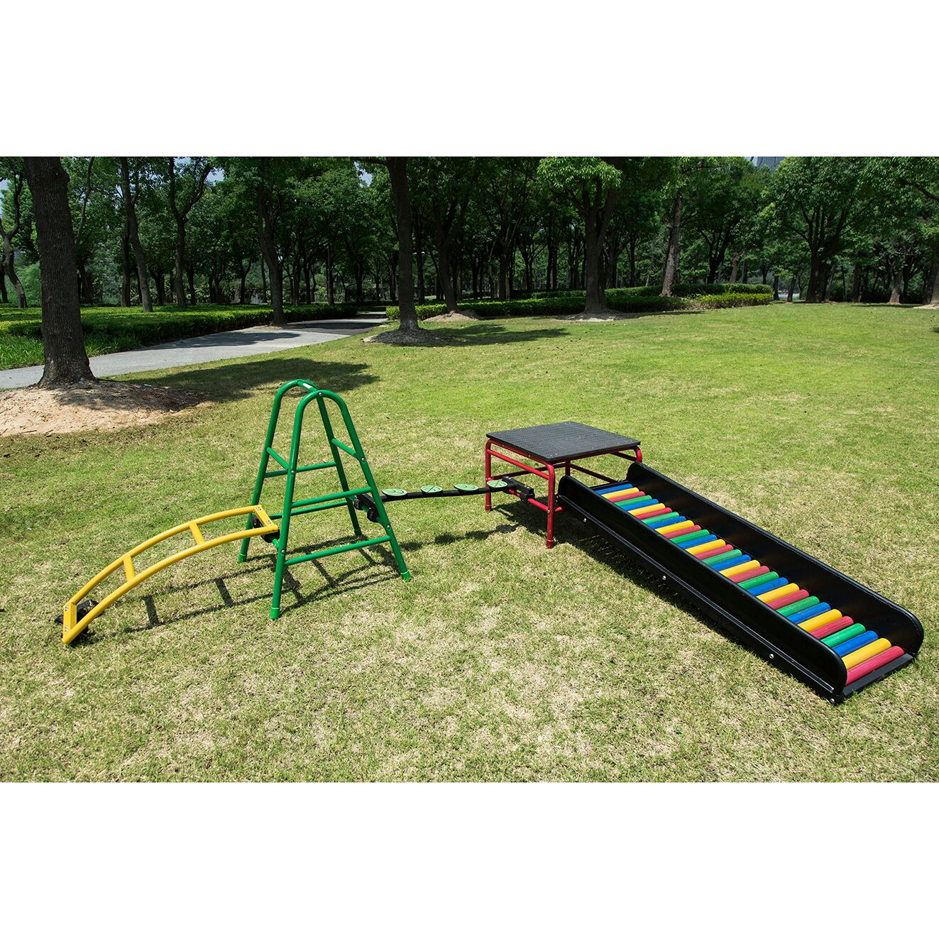Play Gym Set 8  (Arch Walkway- Trestle 600- Stepping Leaves- Square Platform- Slide)