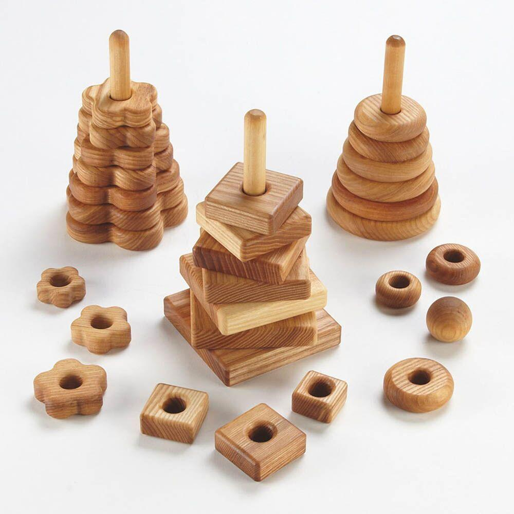 Wooden Stacking Pyramids 3pk