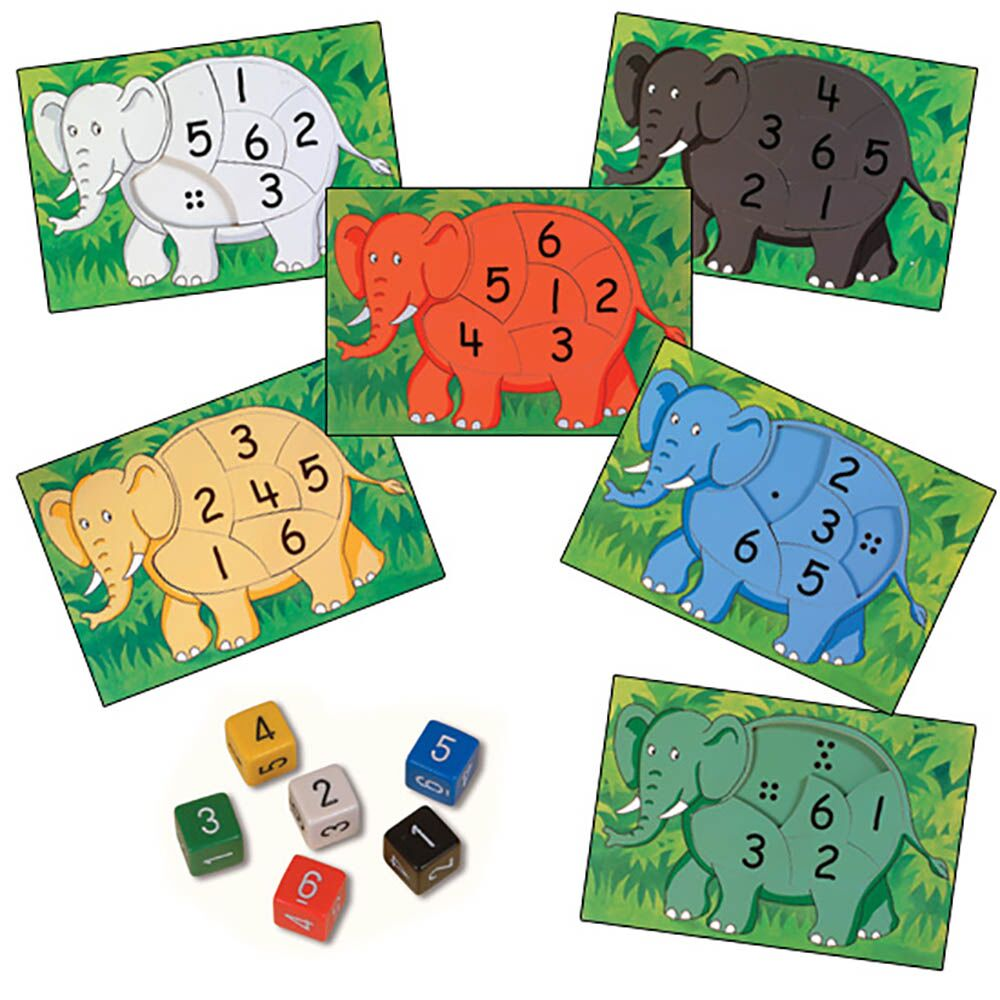 Rainbow Elephant Jigsaws 6pk