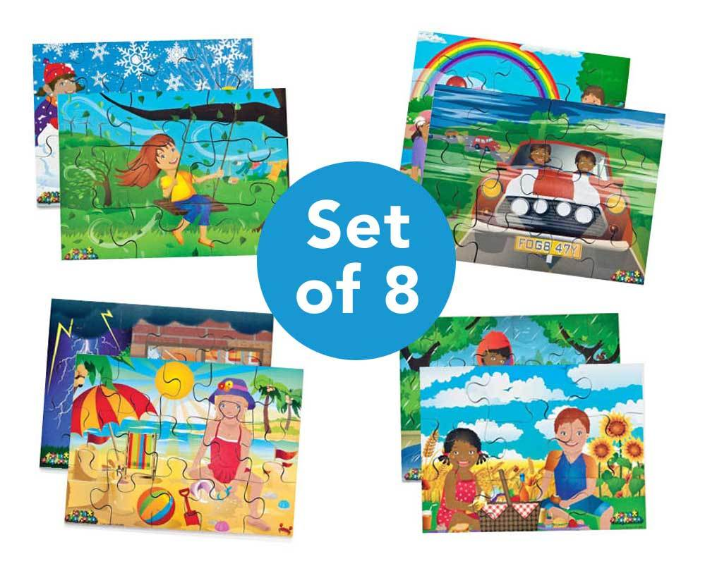 Illustrated Weather Jigsaw Puzzles Set 8pk