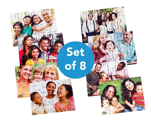 Photographic Modern Families Puzzles 8pk