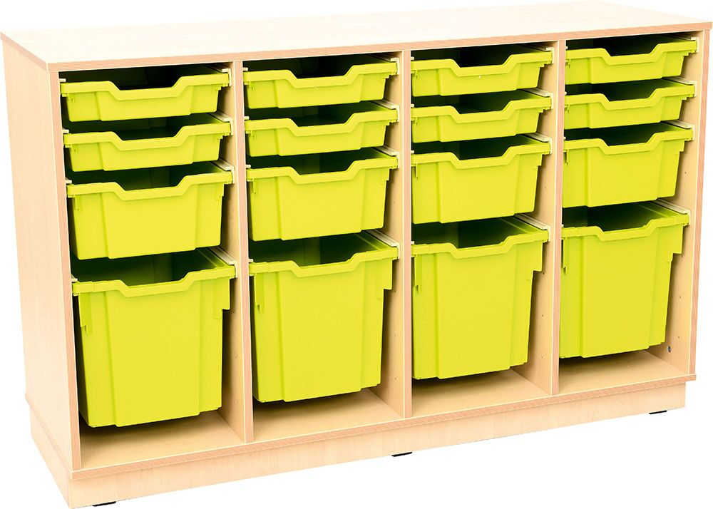 Flexi L cabinet for plasic containers - 3 partitions - with plinth