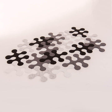 Black & White Jigsaw Rug Rounded