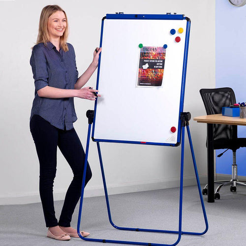 Height Adjustable Drywipe Flipchart Easel Blue