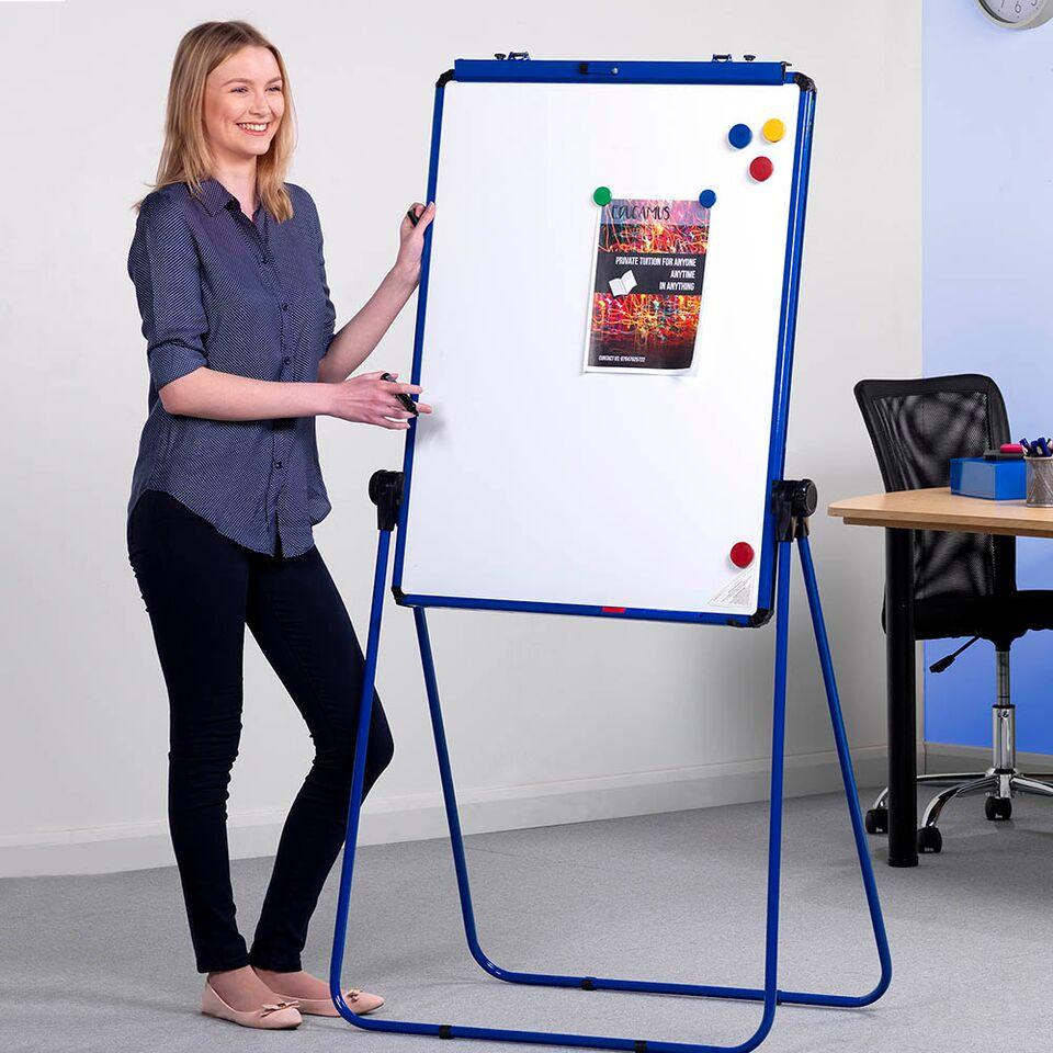 Height Adjustable Drywipe Flipchart Easel White