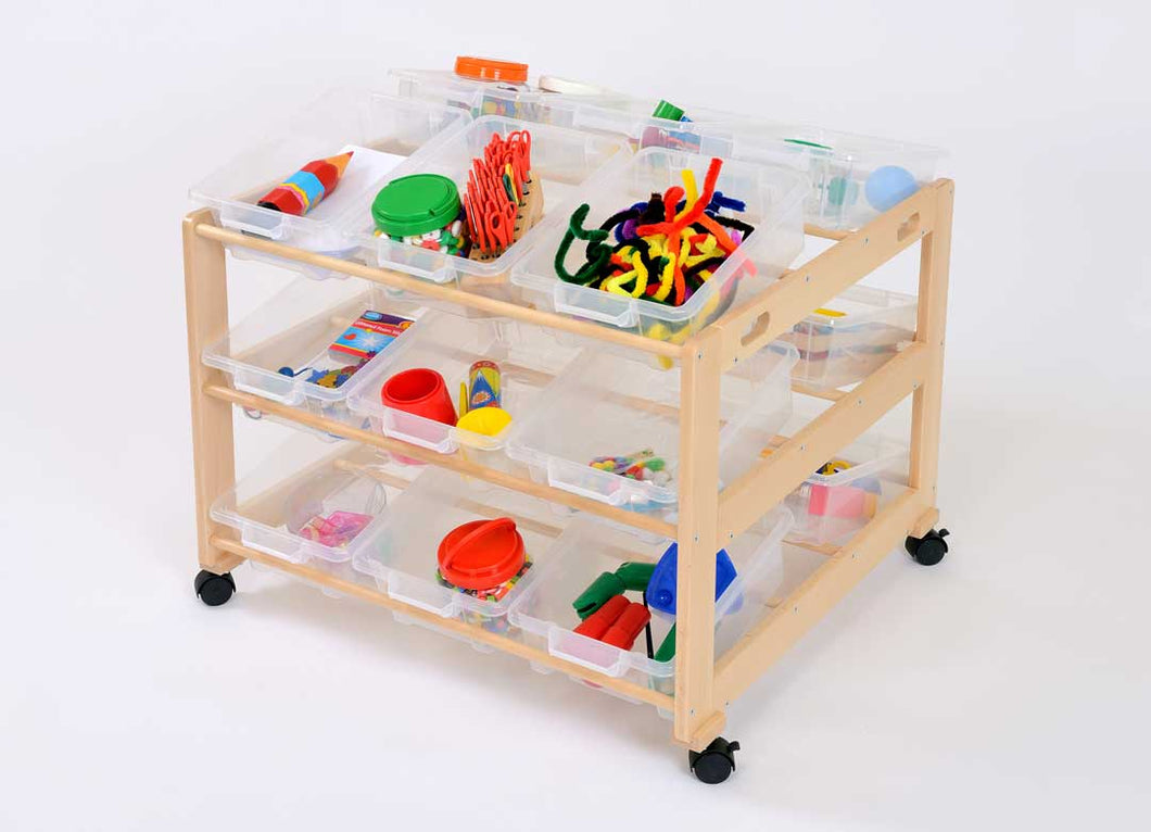 18 Tray Double Classroom Tidy Clear Trays