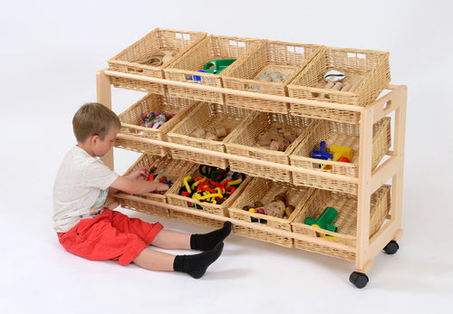 12 Tray Wicker Single Classroom Tidy