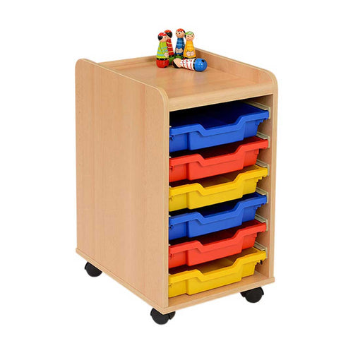 6 Shallow Tray Storage Unit - Multicoloured