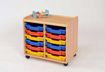 12 Shallow Tray Storage Unit - Multicoloured