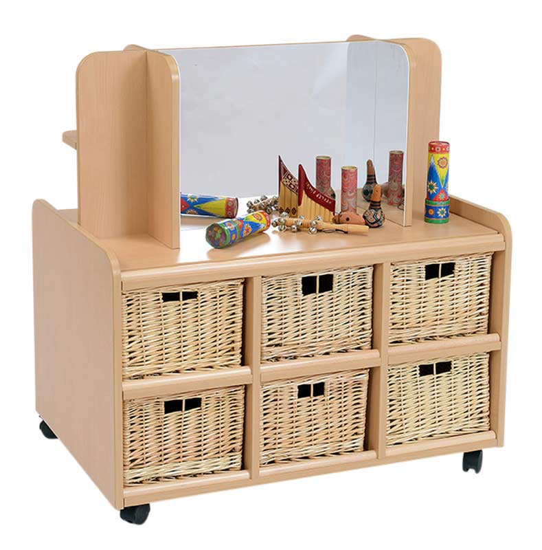 Double Sided Storage Unit with Display/Mirror & Deep Baskets