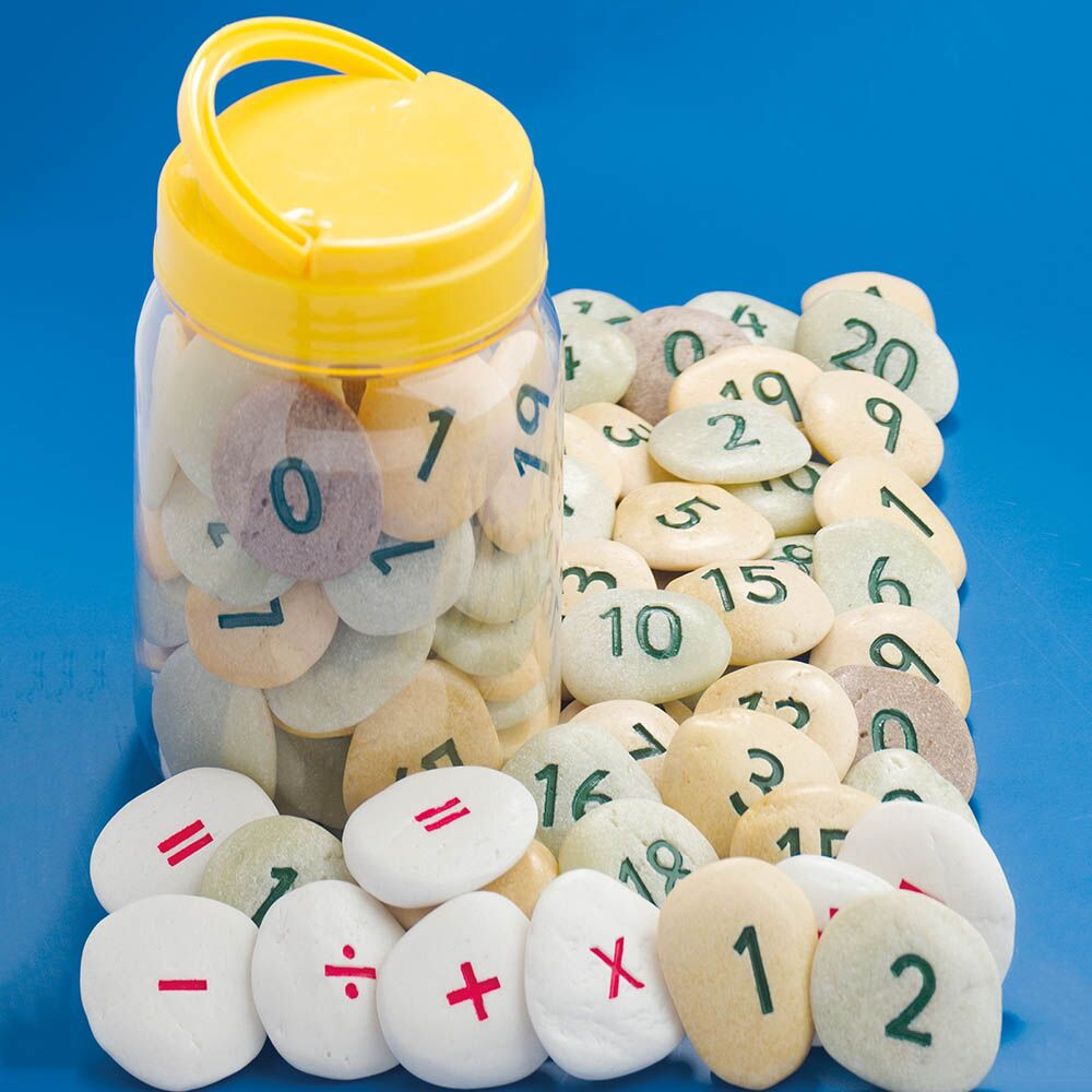 Number Pebbles Engraved Number Stones Sums 50pcs