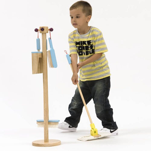 Wooden Cleaning Set with Stand 4pcs