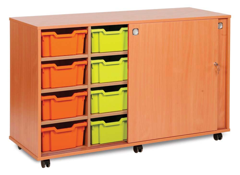 8 Deep & 6 Extra Deep Tray Unit with Lockable Sliding Doors