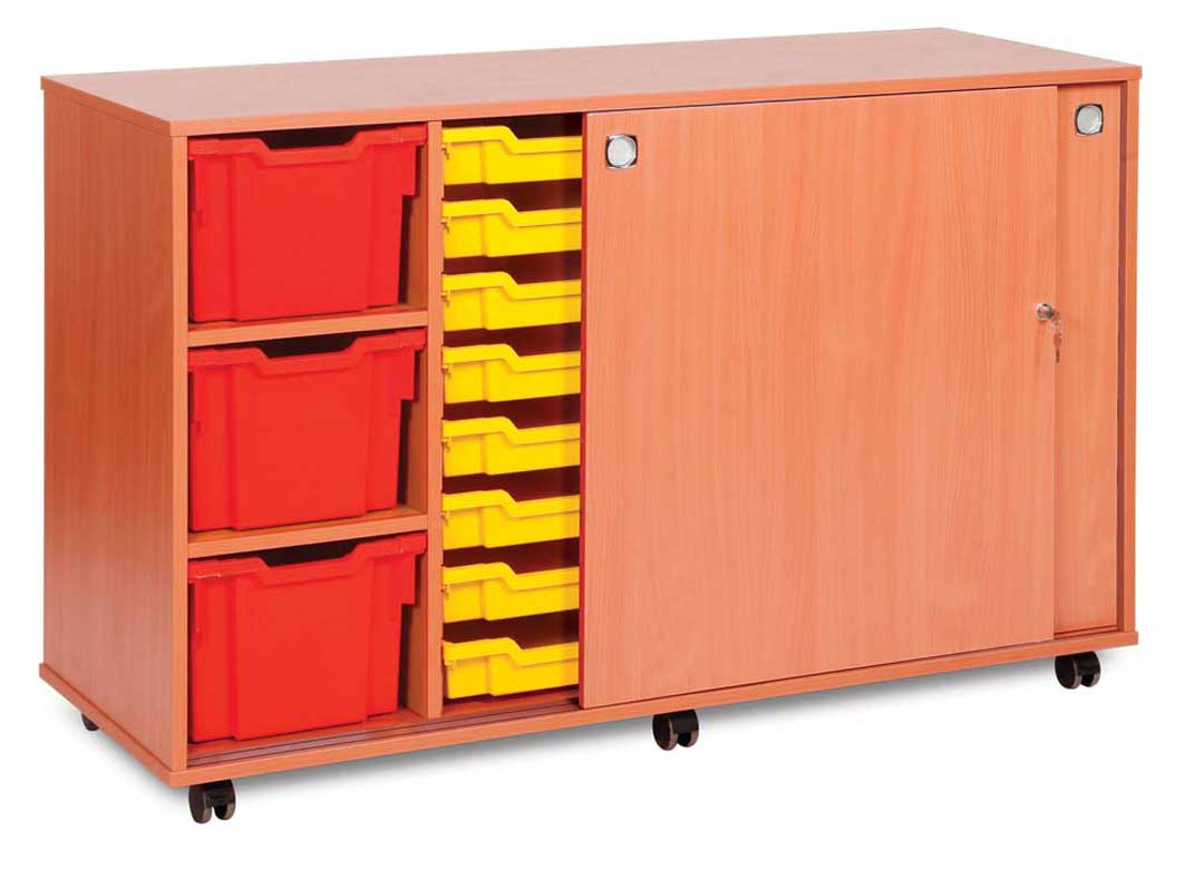16 Shallow & 6 Extra Deep Tray Unit with Lockable sliding doors
