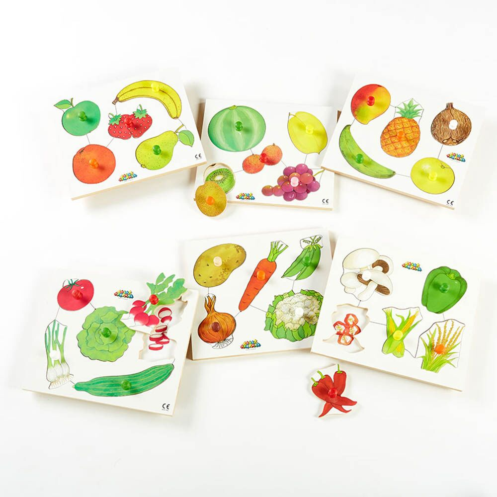 Wooden Healthy Eating Puzzles 6pk