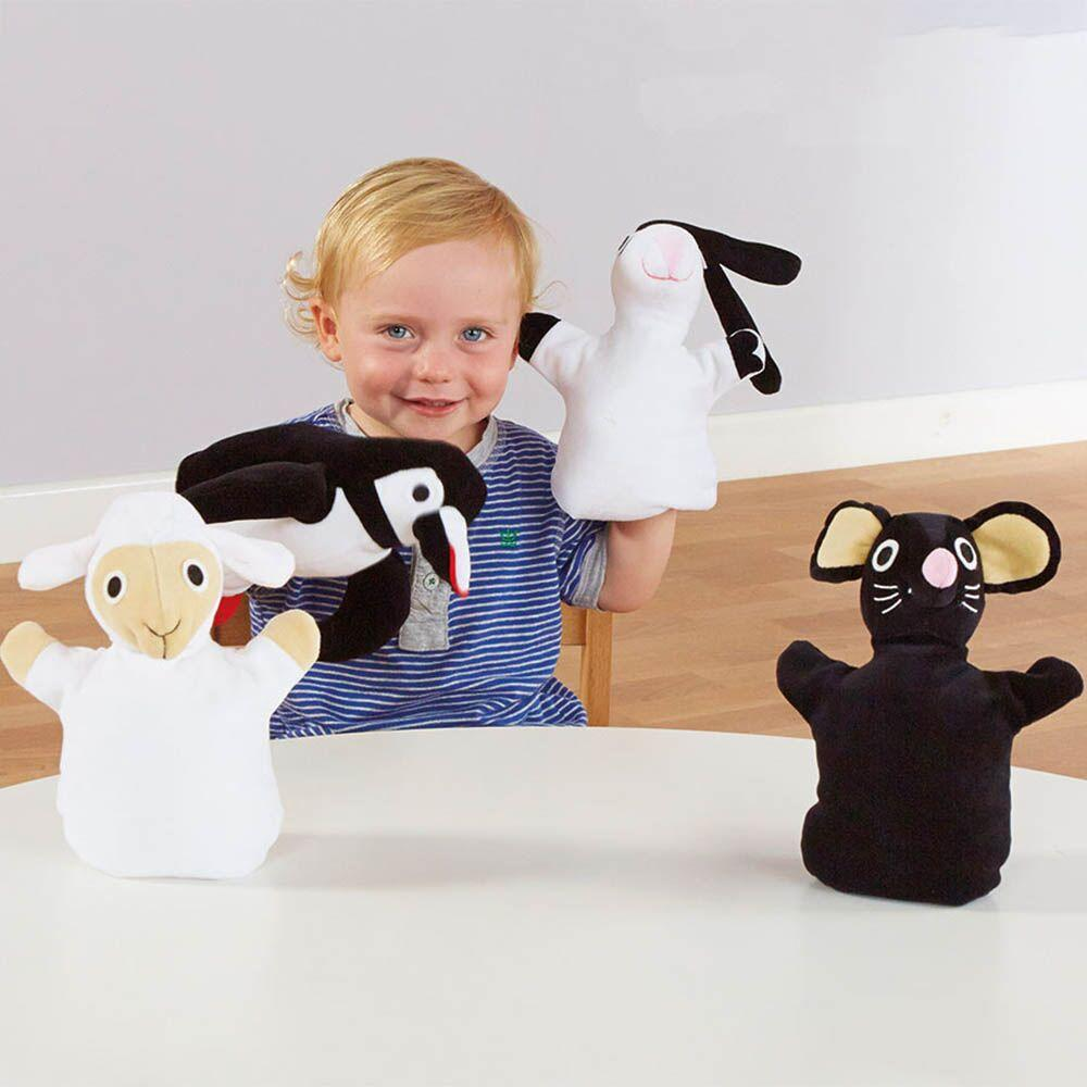 Black And White Soft Animal Puppets 4pk