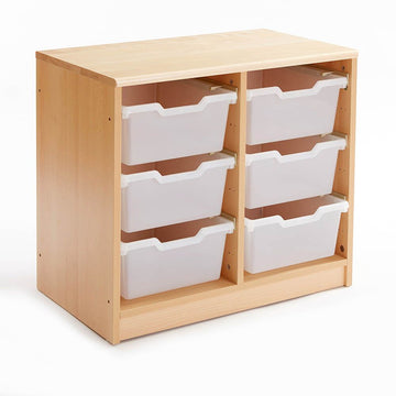 Tray Storage Unit with 18 Clear Shallow Trays
